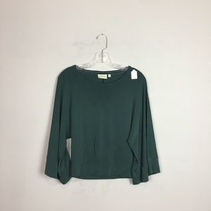 Deletta Anthropologie bell sleeve top green XS